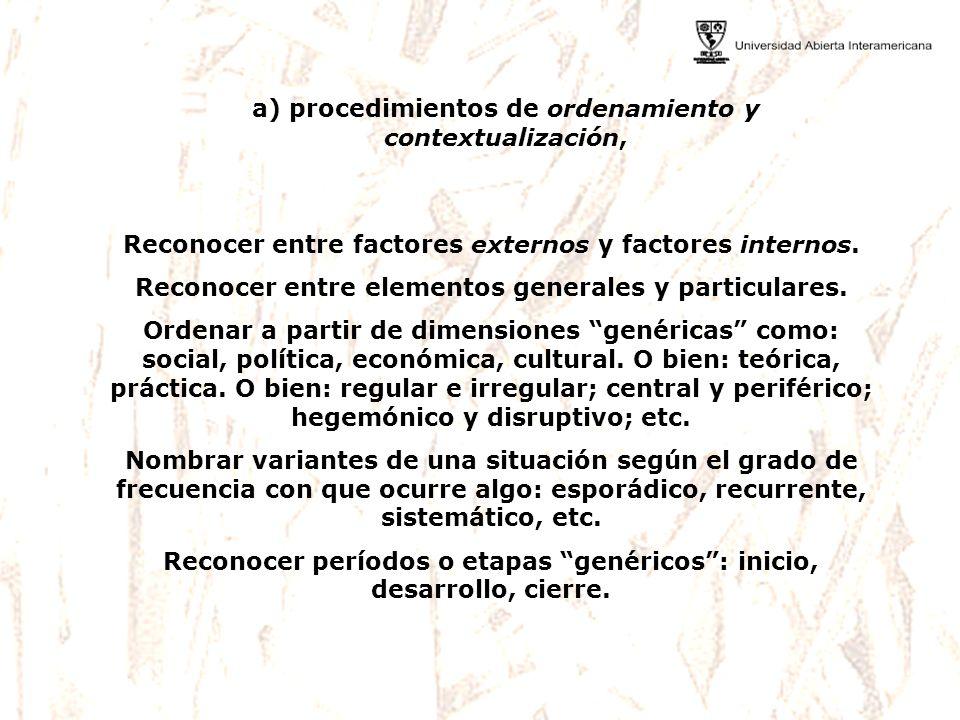 a) procedimientos de ordenamiento y contextualización, Reconocer entre factores externos y factores internos. Reconocer entre elementos generales y pa