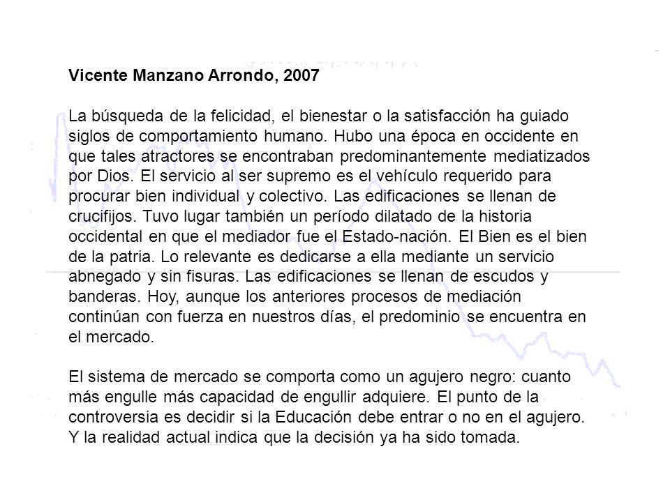 Vicente Manzano Arrondo, 2007 La búsqueda de la felicidad, el bienestar o la satisfacción ha guiado siglos de comportamiento humano. Hubo una época en