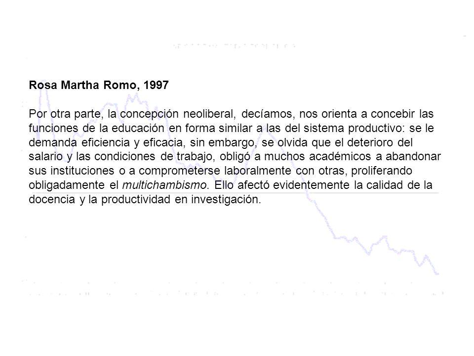 Rosa Martha Romo, 1997 Por otra parte, la concepción neoliberal, decíamos, nos orienta a concebir las funciones de la educación en forma similar a las del sistema productivo: se le demanda eficiencia y eficacia, sin embargo, se olvida que el deterioro del salario y las condiciones de trabajo, obligó a muchos académicos a abandonar sus instituciones o a comprometerse laboralmente con otras, proliferando obligadamente el multichambismo.