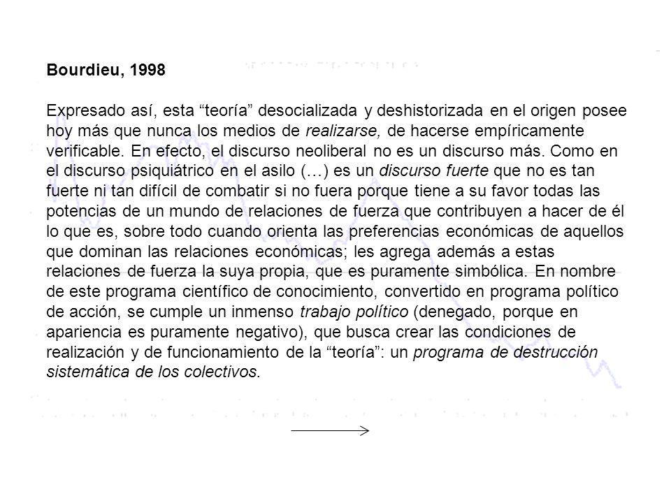 Bourdieu, 1998 Expresado así, esta teoría desocializada y deshistorizada en el origen posee hoy más que nunca los medios de realizarse, de hacerse emp