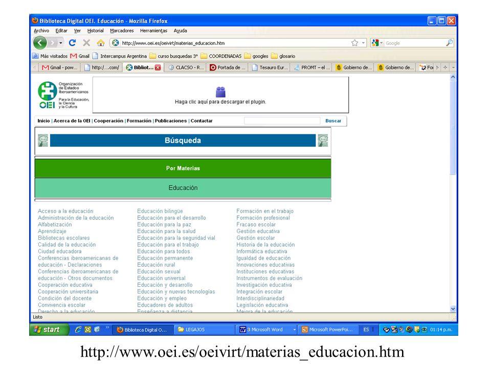 http://www.oei.es/oeivirt/materias_educacion.htm