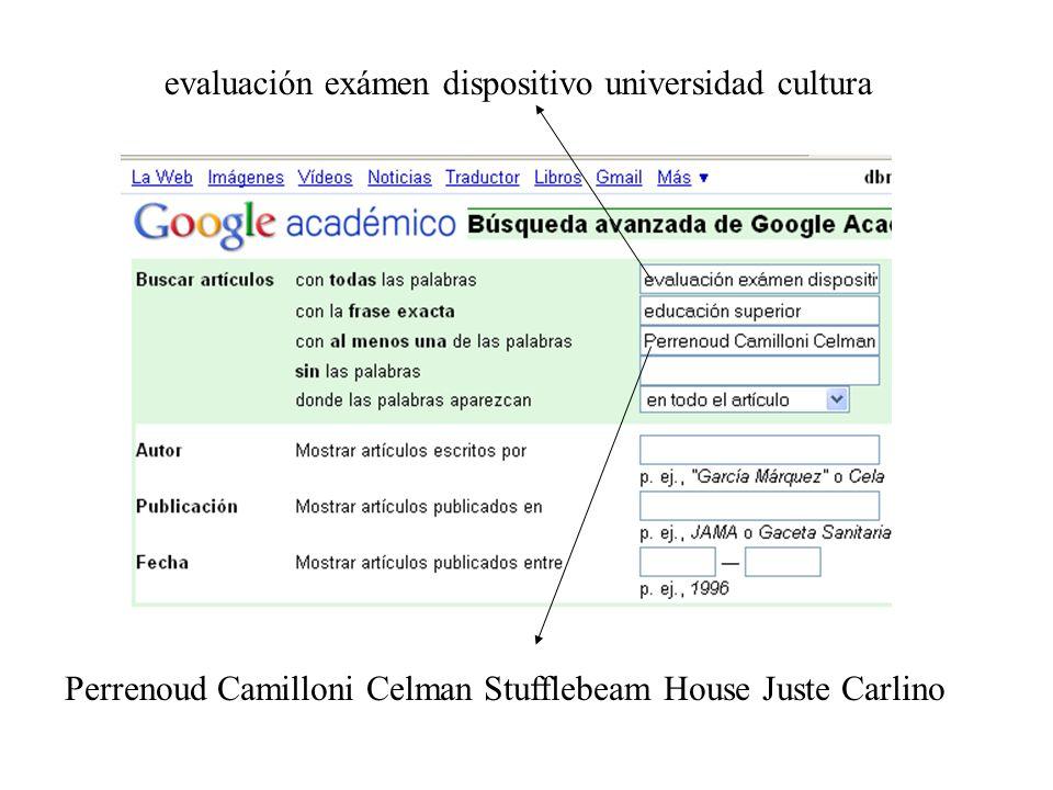 evaluación exámen dispositivo universidad cultura Perrenoud Camilloni Celman Stufflebeam House Juste Carlino