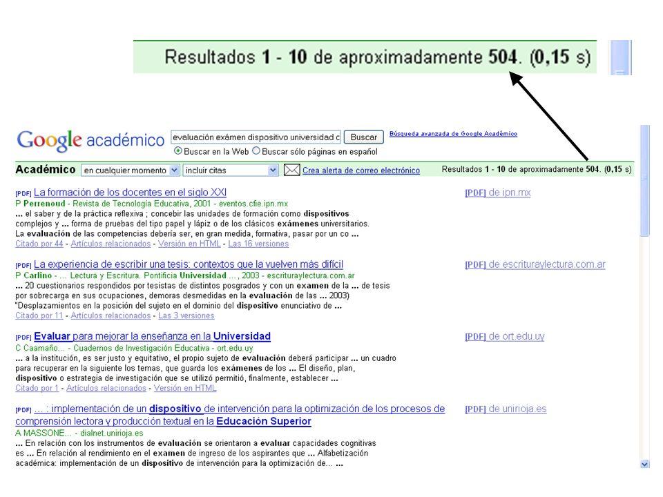 Lista de resultados Tipo de archivo (pdf, html, doc) Título Autor/esDatos de la publicación url Fragmento en el que aparecen algunas de las palabras clave Otros artículos que citan a éste Otros artículos relacionados con éste Vista en html Listado de url en las que aparece este artículo