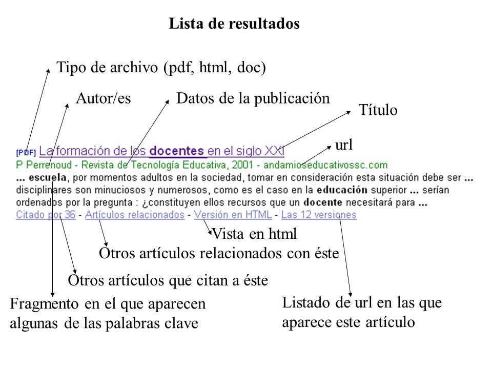 Tres tipos de palabras clave CAMPO TEMÁTICO Frases de PROBLEMA ESPECÍFICO REFERENCIA AUTORAL