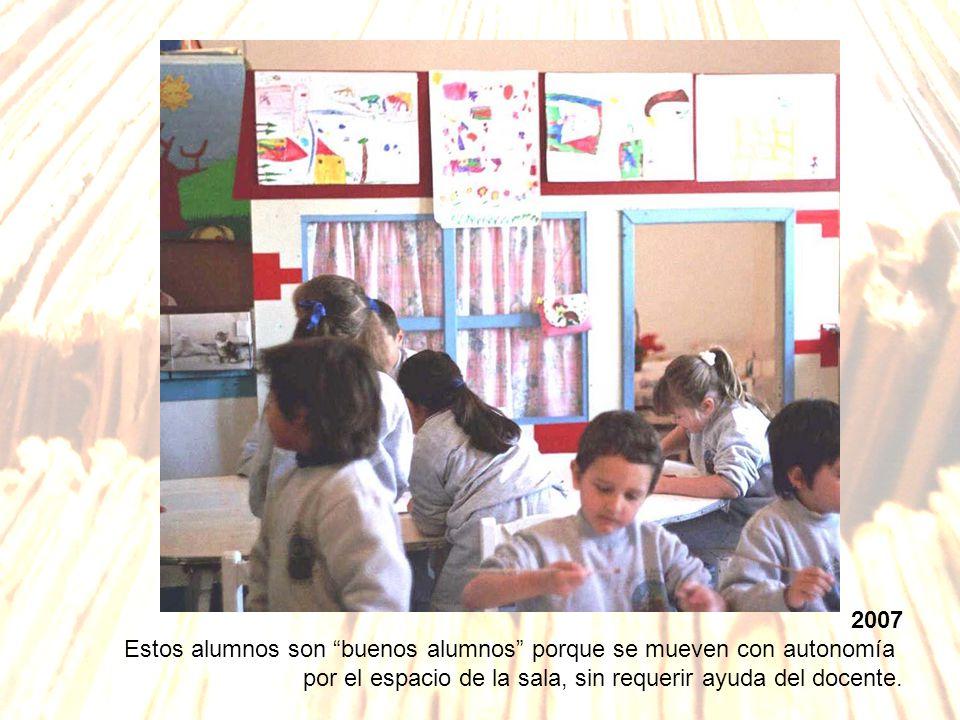 2007 Estos alumnos son buenos alumnos porque se mueven con autonomía por el espacio de la sala, sin requerir ayuda del docente.