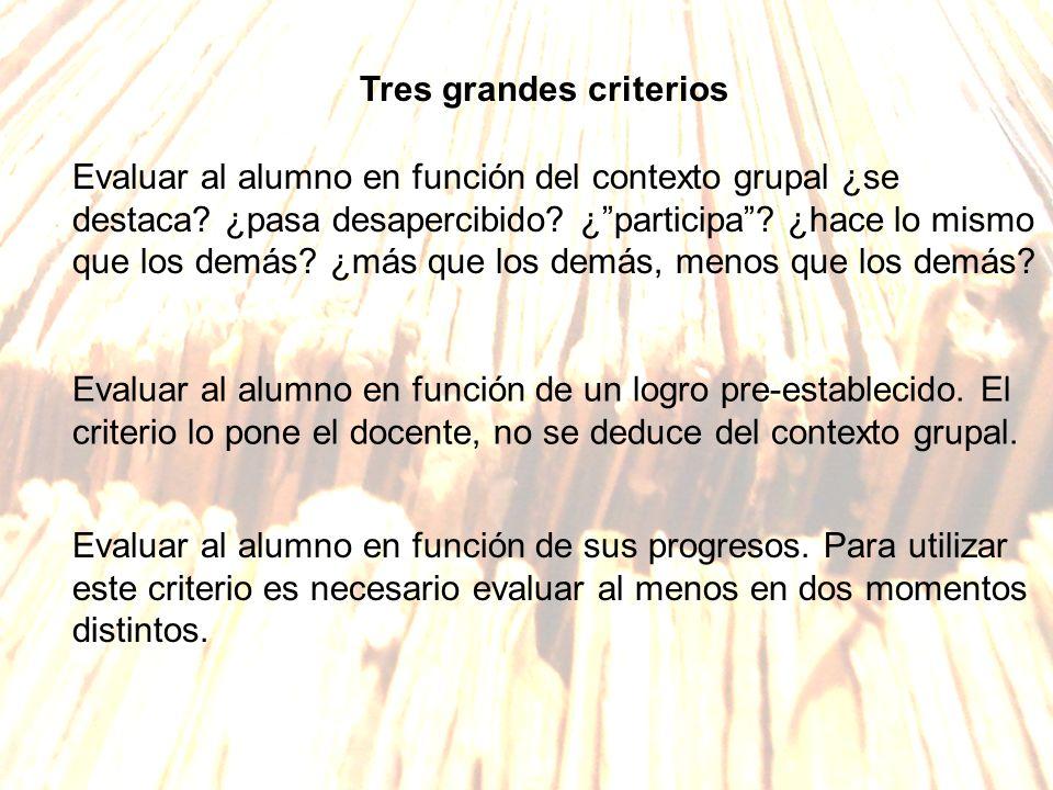 Tres grandes criterios Evaluar al alumno en función del contexto grupal ¿se destaca? ¿pasa desapercibido? ¿participa? ¿hace lo mismo que los demás? ¿m