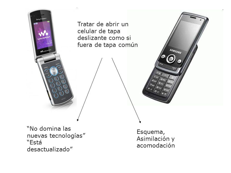 Tratar de abrir un celular de tapa deslizante como si fuera de tapa común No domina las nuevas tecnologías Está desactualizado Esquema, Asimilación y