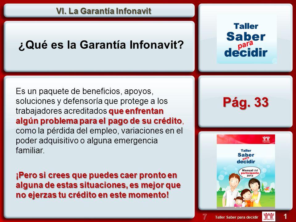 VI. La Garantía Infonavit 1 Taller Saber para decidir ¿Qué es la Garantía Infonavit? que enfrentan algún problema para el pago de su crédito Es un paq