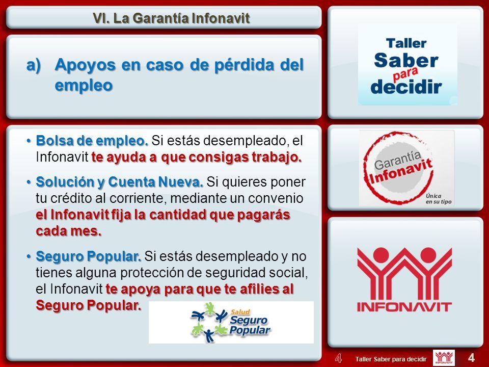 VI. La Garantía Infonavit 4 Taller Saber para decidir Bolsa de empleo. te ayuda a que consigas trabajo.Bolsa de empleo. Si estás desempleado, el Infon
