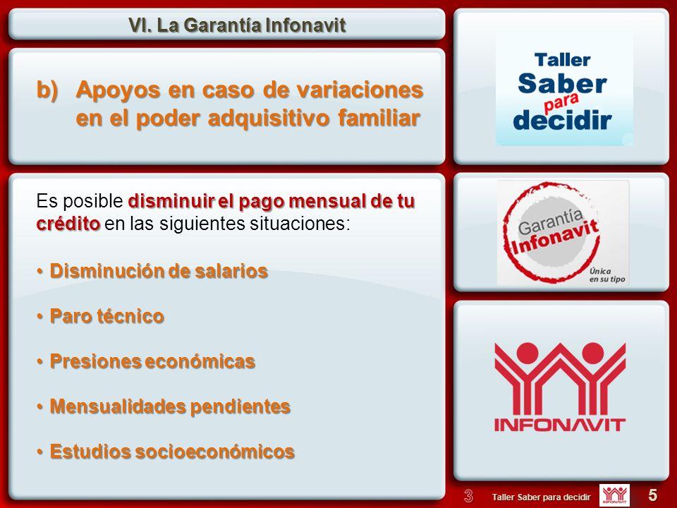 VI. La Garantía Infonavit 5 Taller Saber para decidir b)Apoyos en caso de variaciones en el poder adquisitivo familiar Disminución de salariosDisminuc