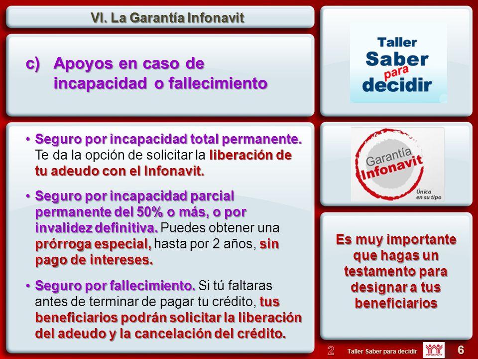 VI.La Garantía Infonavit 7 Taller Saber para decidir Liquidación anticipada.