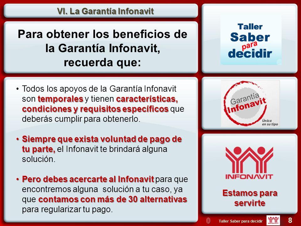 VI. La Garantía Infonavit 8 Taller Saber para decidir 1.¿El Infonavit construye casas? CiertoFalso 1.¿El dinero del Infonavit es del gobierno? CiertoF