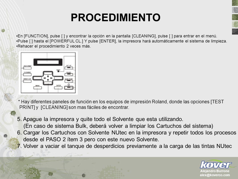 PROCEDIMIENTO Alejandro Burrone alex@koverco.com En [FUNCTION], pulse [ ] y encontrar la opción en la pantalla [CLEANING], pulse [ ] para entrar en el