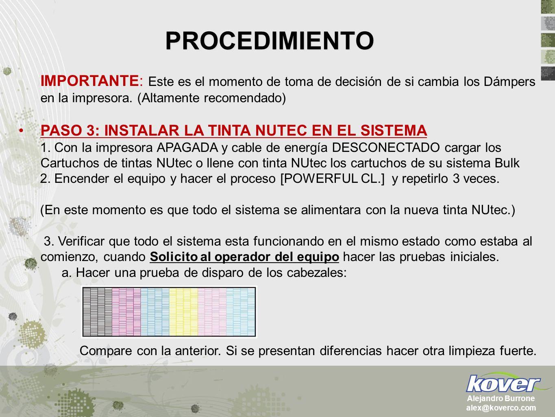 PROCEDIMIENTO Alejandro Burrone alex@koverco.com IMPORTANTE: Este es el momento de toma de decisión de si cambia los Dámpers en la impresora. (Altamen