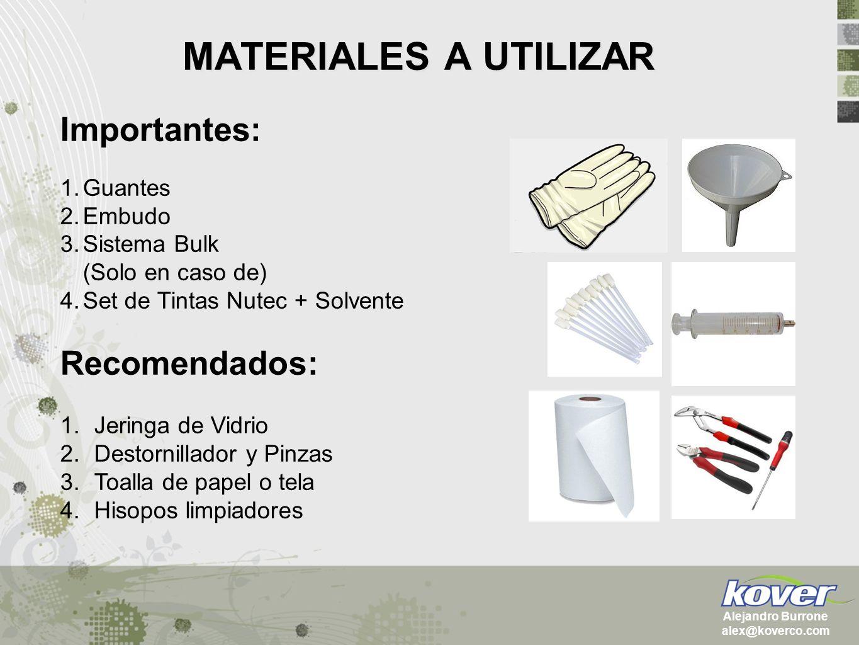 MATERIALES A UTILIZAR Importantes: 1.Guantes 2.Embudo 3.Sistema Bulk (Solo en caso de) 4.Set de Tintas Nutec + Solvente Recomendados: 1.Jeringa de Vid