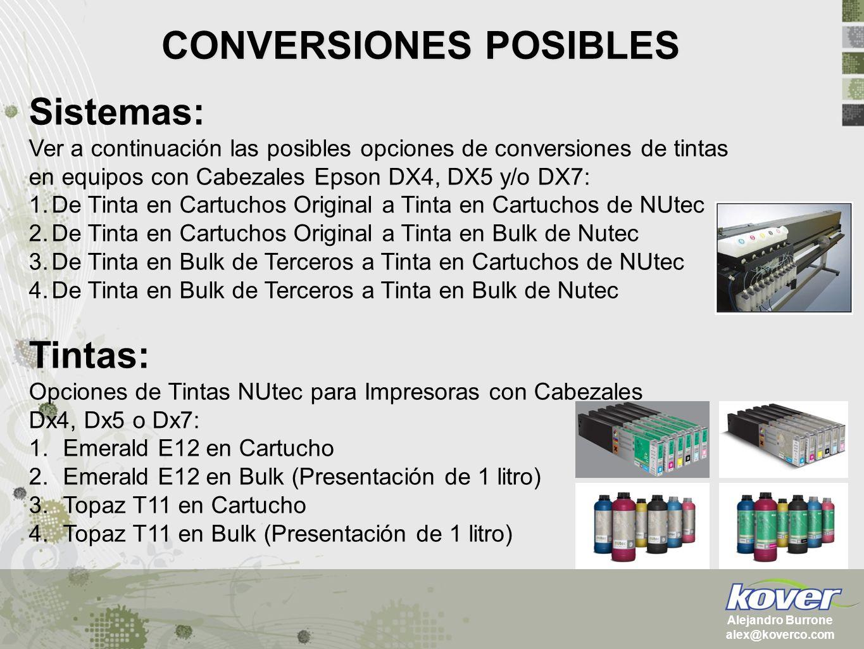 CONVERSIONES POSIBLES Sistemas: Ver a continuación las posibles opciones de conversiones de tintas en equipos con Cabezales Epson DX4, DX5 y/o DX7: 1.