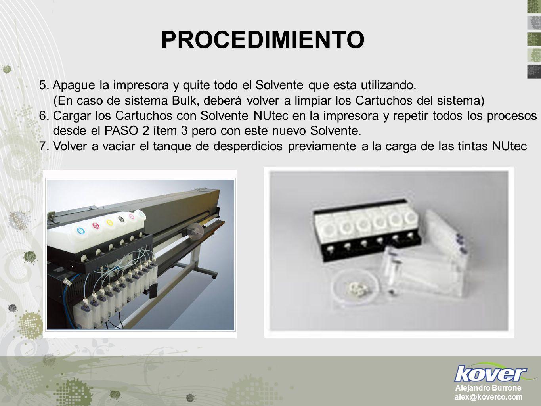 PROCEDIMIENTO Alejandro Burrone alex@koverco.com 5. Apague la impresora y quite todo el Solvente que esta utilizando. (En caso de sistema Bulk, deberá