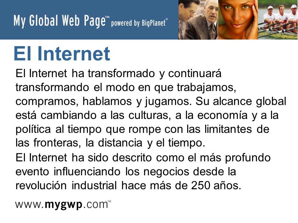 El Internet El Internet ha transformado y continuará transformando el modo en que trabajamos, compramos, hablamos y jugamos.