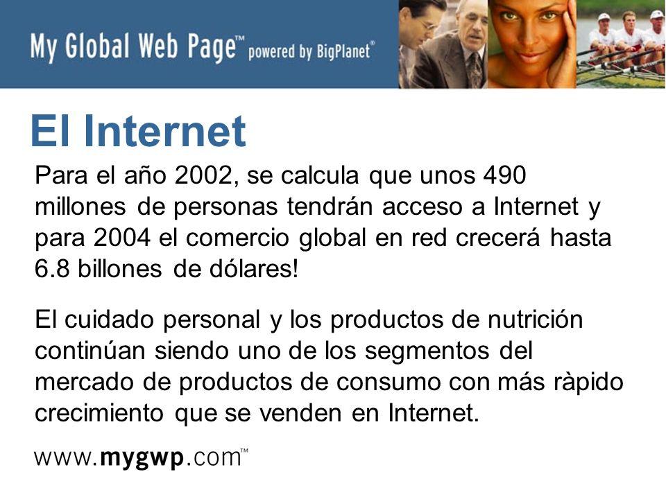 El Internet Para el año 2002, se calcula que unos 490 millones de personas tendrán acceso a Internet y para 2004 el comercio global en red crecerá hasta 6.8 billones de dólares.