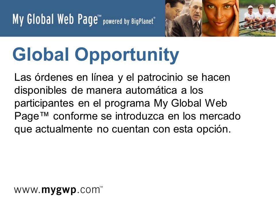 Global Opportunity Las órdenes en línea y el patrocinio se hacen disponibles de manera automática a los participantes en el programa My Global Web Page conforme se introduzca en los mercado que actualmente no cuentan con esta opción.