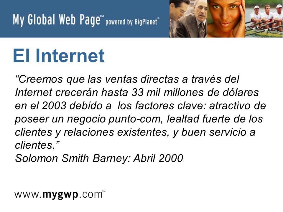 El Internet Creemos que las ventas directas a través del Internet crecerán hasta 33 mil millones de dólares en el 2003 debido a los factores clave: atractivo de poseer un negocio punto-com, lealtad fuerte de los clientes y relaciones existentes, y buen servicio a clientes.