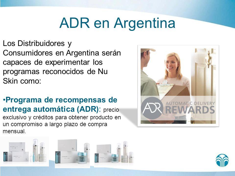 ADR en Argentina Los Distribuidores y Consumidores en Argentina serán capaces de experimentar los programas reconocidos de Nu Skin como: Programa de r