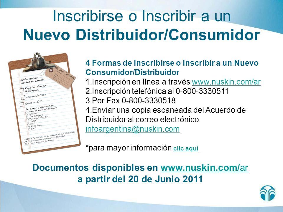 Inscribirse o Inscribir a un Nuevo Distribuidor/Consumidor 4 Formas de Inscribirse o Inscribir a un Nuevo Consumidor/Distribuidor 1.Inscripción en lín