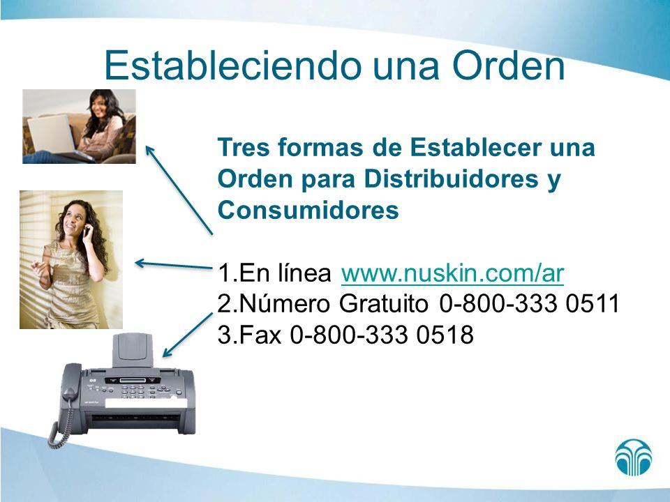 Estableciendo una Orden Tres formas de Establecer una Orden para Distribuidores y Consumidores 1.En línea www.nuskin.com/arwww.nuskin.com/ar 2.Número