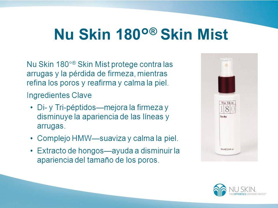 Nu Skin 180° ® Skin Mist Nu Skin 180° ® Skin Mist protege contra las arrugas y la pérdida de firmeza, mientras refina los poros y reafirma y calma la