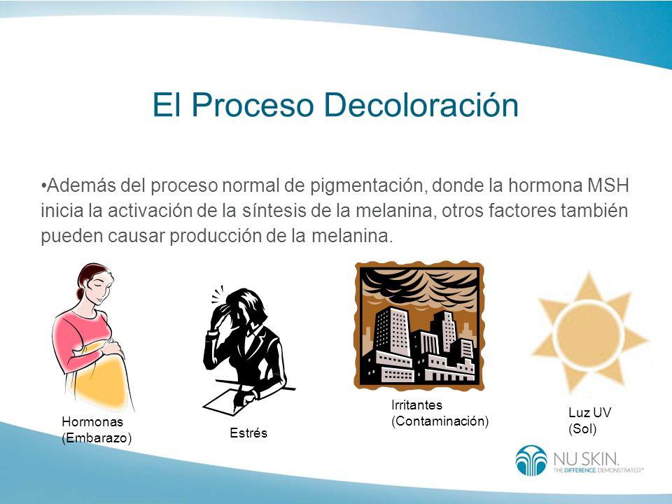 Hormonas (Embarazo) Estrés Irritantes (Contaminación) Luz UV (Sol) El Proceso Decoloración Además del proceso normal de pigmentación, donde la hormona
