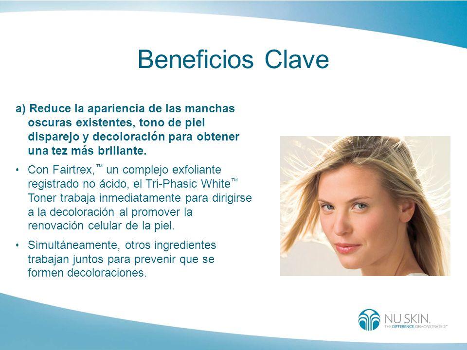 Beneficios Clave a) Reduce la apariencia de las manchas oscuras existentes, tono de piel disparejo y decoloración para obtener una tez más brillante.