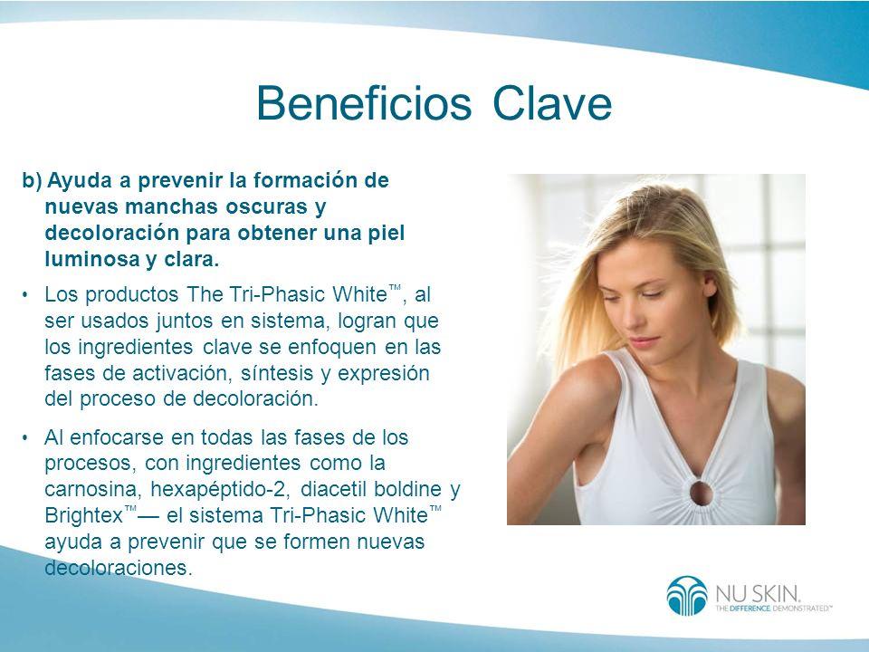 Beneficios Clave b) Ayuda a prevenir la formación de nuevas manchas oscuras y decoloración para obtener una piel luminosa y clara. Los productos The T