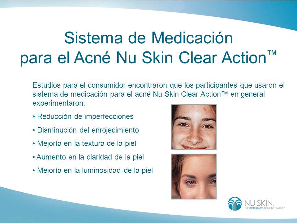 Sistema de Medicación para el Acné Nu Skin Clear Action Estudios para el consumidor encontraron que los participantes que usaron el sistema de medicac