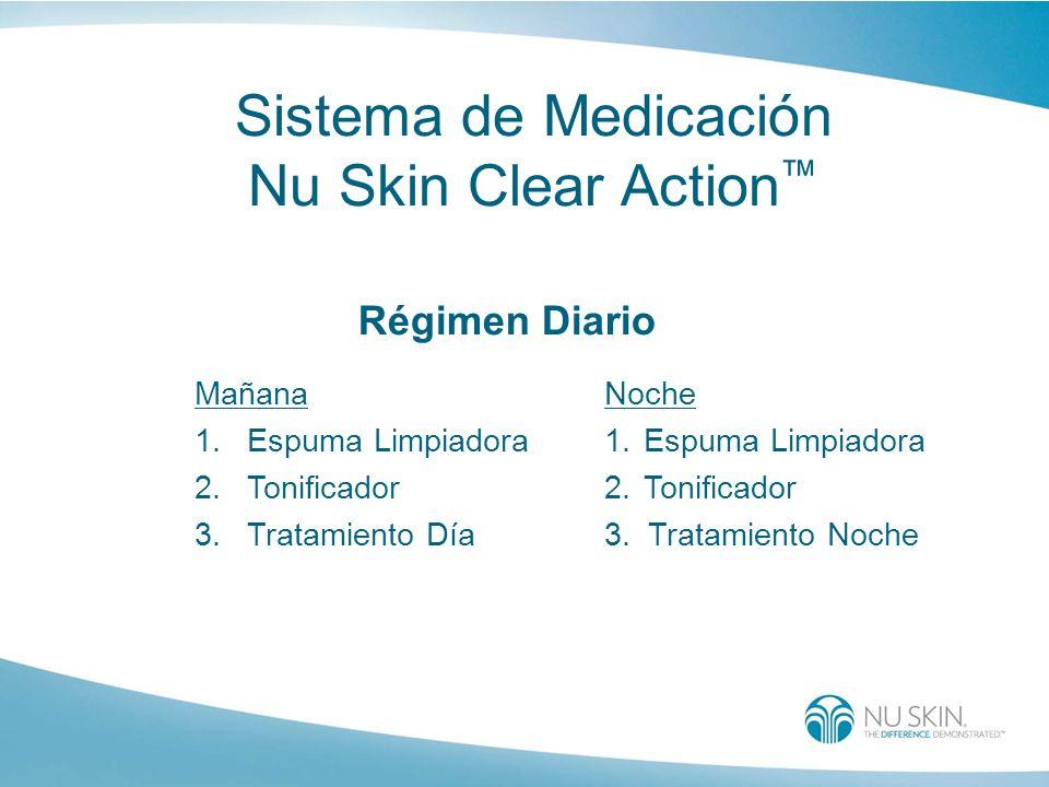 Sistema de Medicación Nu Skin Clear Action Mañana 1.Espuma Limpiadora 2.Tonificador 3. Tratamiento Día Noche 1.Espuma Limpiadora 2.Tonificador 3. Trat