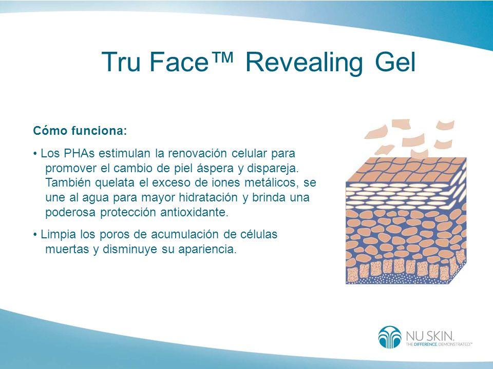 Tru Face Revealing Gel Cómo funciona: Los PHAs estimulan la renovación celular para promover el cambio de piel áspera y dispareja. También quelata el