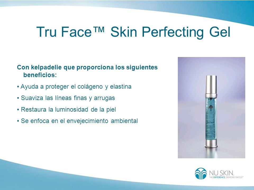 Tru Face Skin Perfecting Gel Con kelpadelie que proporciona los siguientes beneficios: Ayuda a proteger el colágeno y elastina Suaviza las líneas fina