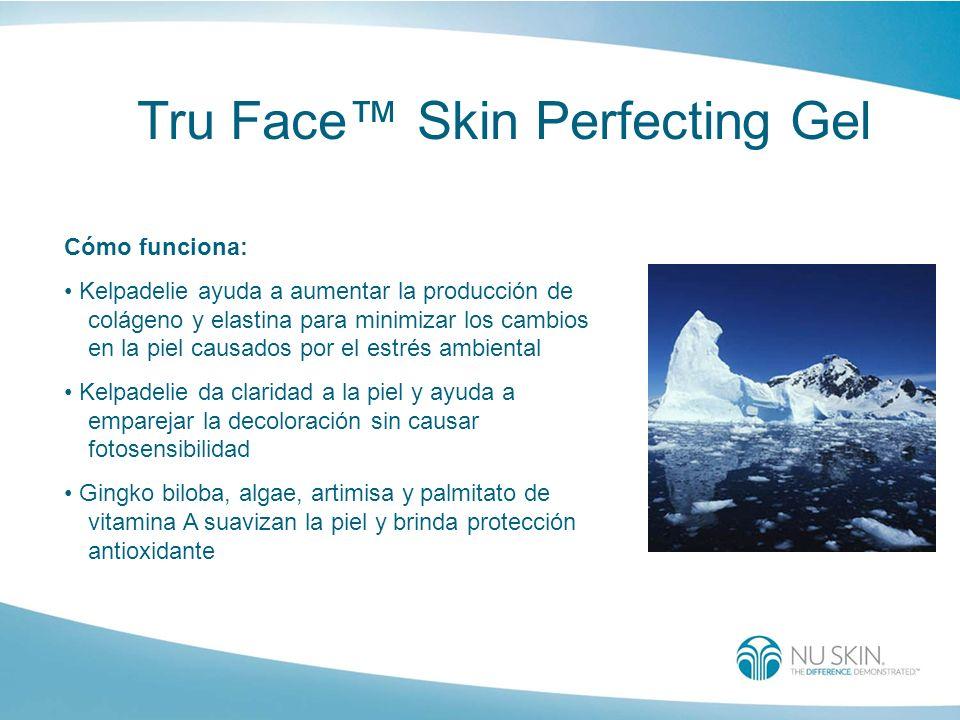 Tru Face Skin Perfecting Gel Cómo funciona: Kelpadelie ayuda a aumentar la producción de colágeno y elastina para minimizar los cambios en la piel cau
