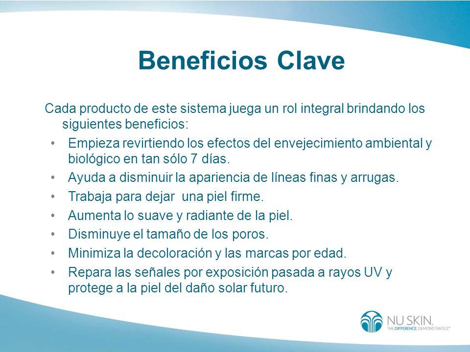 Beneficios Clave Cada producto de este sistema juega un rol integral brindando los siguientes beneficios: Empieza revirtiendo los efectos del envejeci