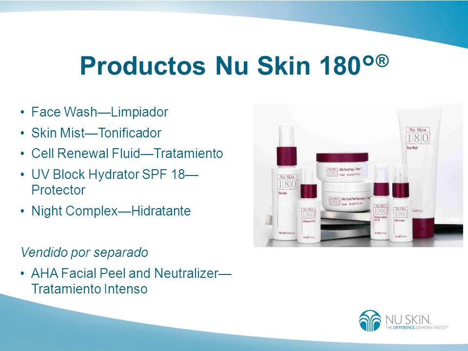 Productos Nu Skin 180° ® Face WashLimpiador Skin MistTonificador Cell Renewal FluidTratamiento UV Block Hydrator SPF 18 Protector Night ComplexHidrata