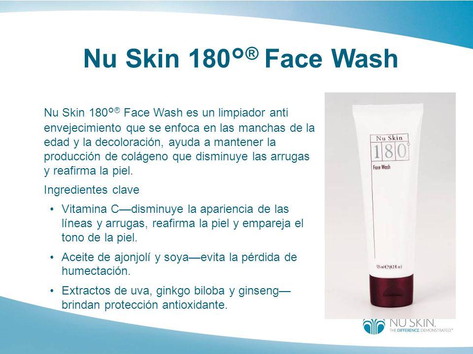 Nu Skin 180° ® Face Wash Nu Skin 180° ® Face Wash es un limpiador anti envejecimiento que se enfoca en las manchas de la edad y la decoloración, ayuda