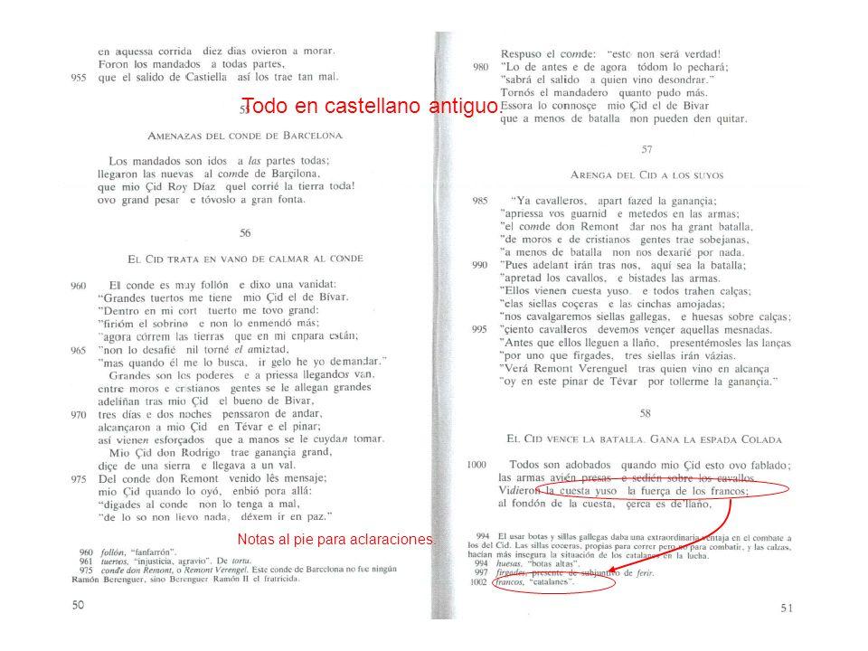 Todo en castellano antiguo. Notas al pie para aclaraciones.