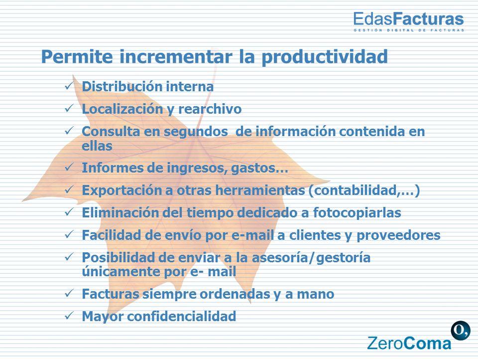 Permite incrementar la productividad Distribución interna Localización y rearchivo Consulta en segundos de información contenida en ellas Informes de
