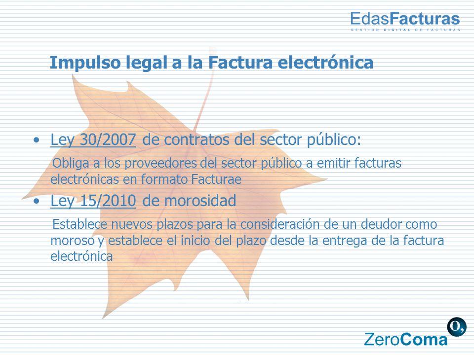Impulso legal a la Factura electrónica Ley 30/2007 de contratos del sector público: Obliga a los proveedores del sector público a emitir facturas elec