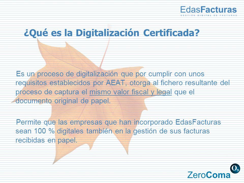 ¿Qué es la Digitalización Certificada? Es un proceso de digitalización que por cumplir con unos requisitos establecidos por AEAT, otorga al fichero re