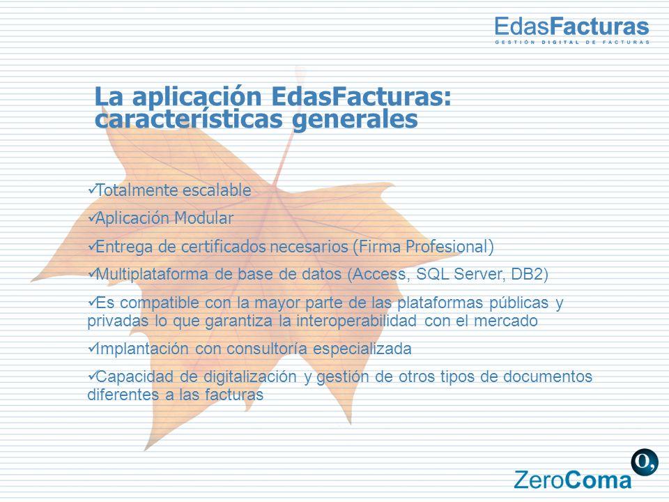 La aplicación EdasFacturas: características generales Totalmente escalable Aplicación Modular Entrega de certificados necesarios (Firma Profesional) M