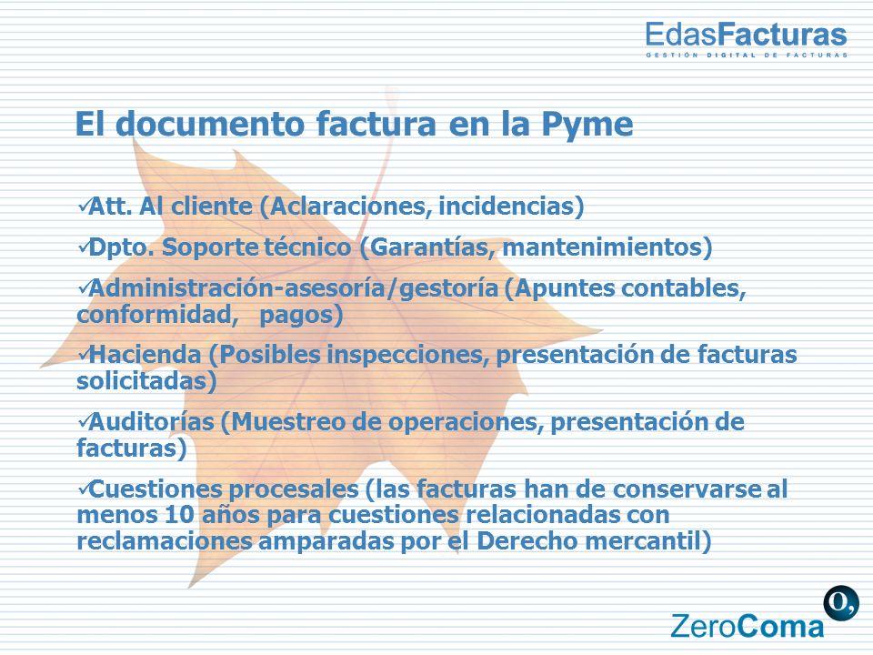El documento factura en la Pyme Att. Al cliente (Aclaraciones, incidencias) Dpto. Soporte técnico (Garantías, mantenimientos) Administración-asesoría/