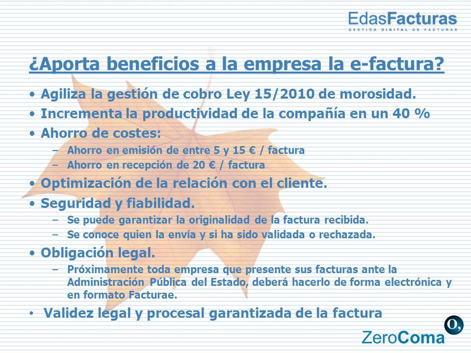 ¿Aporta beneficios a la empresa la e-factura? Agiliza la gestión de cobro Ley 15/2010 de morosidad. Incrementa la productividad de la compañía en un 4
