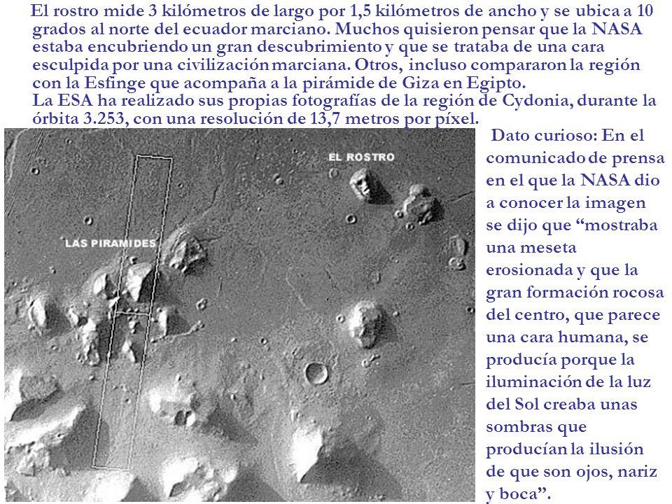 El rostro mide 3 kilómetros de largo por 1,5 kilómetros de ancho y se ubica a 10 grados al norte del ecuador marciano. Muchos quisieron pensar que la