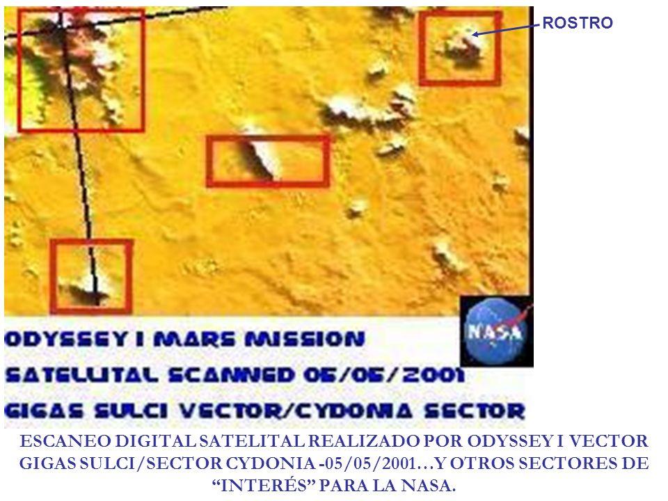 ESCANEO DIGITAL SATELITAL REALIZADO POR ODYSSEY I VECTOR GIGAS SULCI/SECTOR CYDONIA -05/05/2001…Y OTROS SECTORES DE INTERÉS PARA LA NASA. ROSTRO