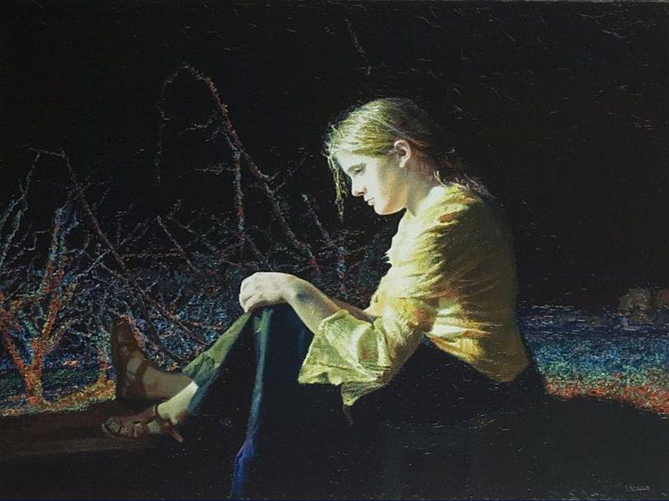 La autora pintando